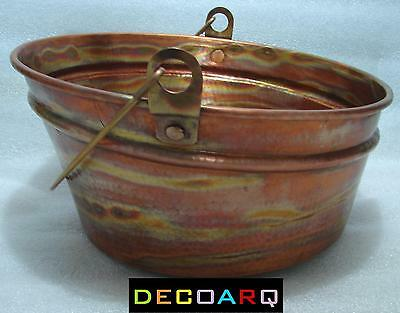 * ABOVE THE COUNTER INCLINED Bucket DESIGN COPPER SINK FIRE PATINA FARM STYLE !!