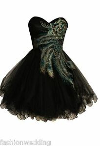 PEACOCK-Short-Party-gown-formal-dress-Black-Tulle-exsmall-to-Exlarge-NWT