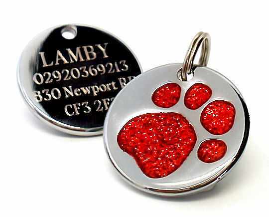 25mm Glitter Paw Print Dog Pet ID Tag Disc Engraved Free