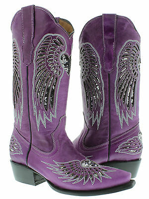 Women's cowboy boots ladies purple leather sequins western riding biker rodeo