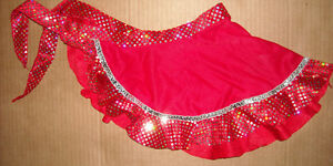 NEW-Crepe-and-Velvet-HOLOGRAM-Sequin-TRIM-DANCE-SARONG-GIRLS-SIZES-Red-or-Plum