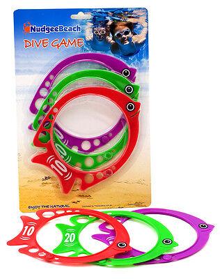 Dive FISH sticks rings discs Diving Game Swimming Pool Toy 3pc set NEW swim 7182