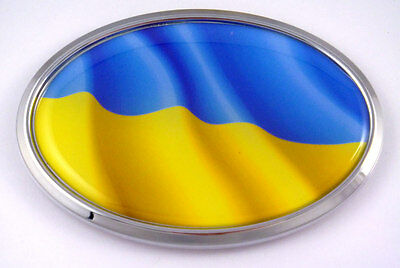 Ukraine Ukrainian Oval Car Chrome Emblem Decal Bumper Sticker Self Adhesive