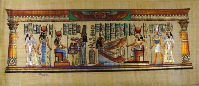 "8 PHARAOH GODS KINGS & QUEENS  ORIGINAL HAND PAINTED PAPYRUS 32""x12""(80x30 CM)"