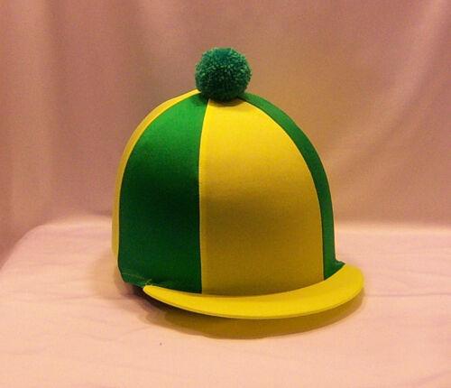Chapeau Équitation couvrir-fluorescent jaune /& vert émeraude