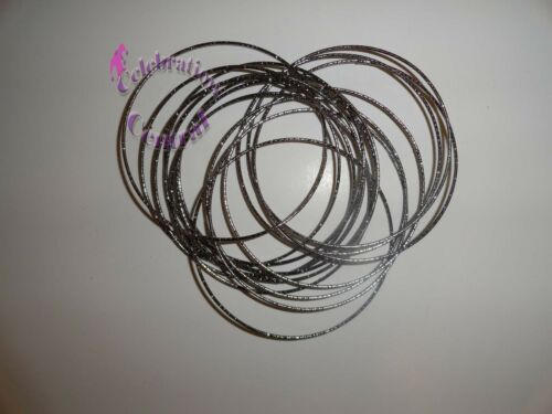 SET OF 15 METAL ROUND BANGLES IN GOLD SILVER PEWTER OR BRONZE