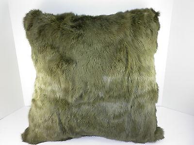Real genuine Dyed Khaiki  Long Hair Rabbit Fur  Pillow  made in usa fur cushion