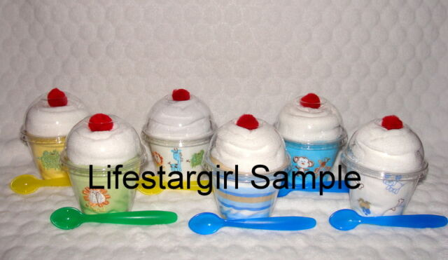 """Onesie & Baby Wash Cloth """"Sundae""""!! Cute Baby Shower Gift or Decorations!"""