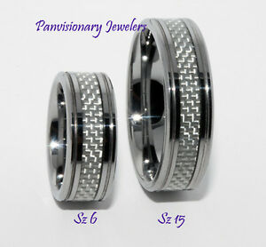 8mm-Silver-Gray-Carbon-Fiber-Inlay-Tungsten-Ring-Wedding-Band-Size-13-14-left