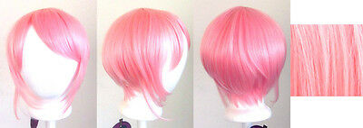 12'' Bob Cut Cotton Candy Pink Synthetic Cosplay Wig NEW