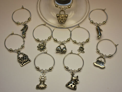 10 Wine Glass Charm Rings HEN NIGHT PARTY FAVOURS GIRLS - individually packaged