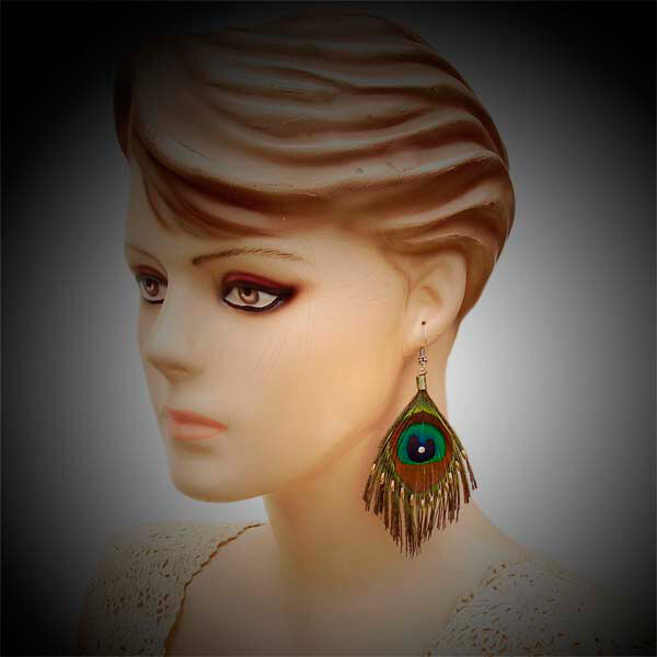 NATURAL PEACOCK FEATHER EARRINGS HANDMADE WHOLESALE PRICE JEWELRY E40/3