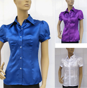 SATIN-BUTTON-DOWN-SHIRT-TOP-BLOUSE-Sz-M-L-XL-XXL-XXXL