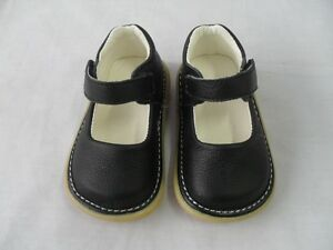 New-Black-Leather-Squeaky-Shoes-Toddler-Baby-Girl-Size-3-4-5-6-7-Xtra-Squeaker