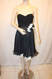 NEW-MAX-AND-CLEO-by-BCBG-BLACK-WHITE-POLY-STRAPLESS-COCKTAIL-DRESS-SIZE-4