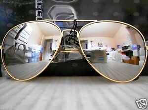 aviator sunglasses silver  Mirrored Aviator Sunglasses Silver Mirror Lenses Gold Metal Frame ...