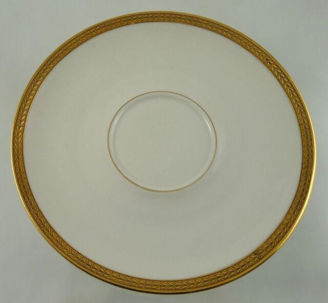 GOLD WEDDING BAND LEAF DESIGNED LIMOGES LARGE SAUCER BY CH FIELD HAVILAND 1941+