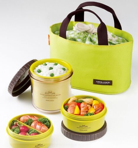 Lock & Lock NEW Bento Lunch Box Set w/3 Containers + Bag GREEN HPL746G