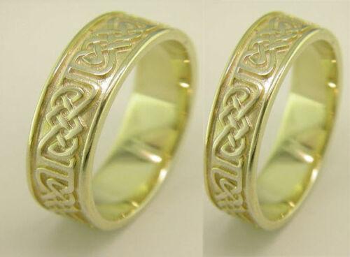 Irish Handcrafted 14k Gold Irish Celtic Design Wedding Band Ring Set 6mm 3.5mm