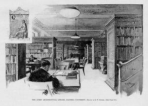 COLUMBIA-UNIVERSITY-AVERY-ARCHITECTURAL-LIBRARY-ANTIQUE-1898-ENGRAVING-COLUMBIA