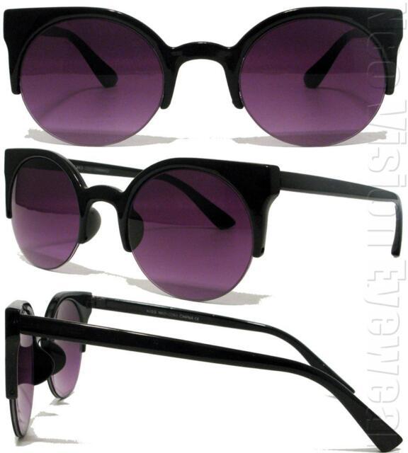 Round Smoke Lenses Cat Eye Sunglasses Vintage Style Black K51