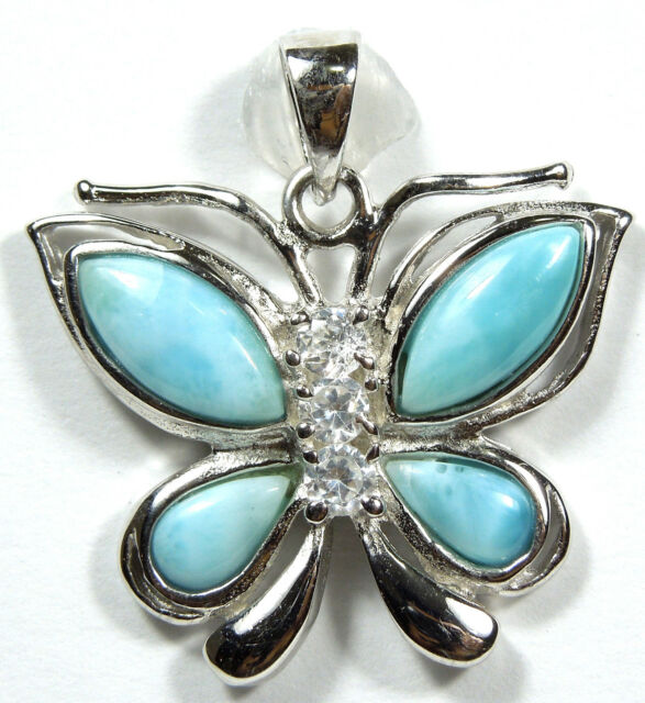 Genuine AAA Larimar Inlay 925 Sterling Silver Butterfly Pendant For Necklace