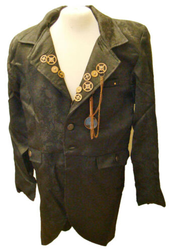Raven Steampunk jaquard black jacket with cogs, chain and magnify glass ra56gml
