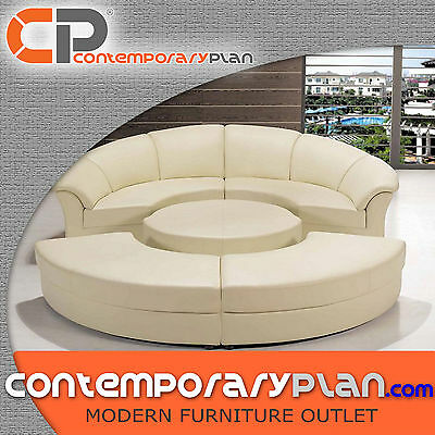Contemporary Circle Leather Sectional Sofa Set w Table Modern Furniture Day Bed