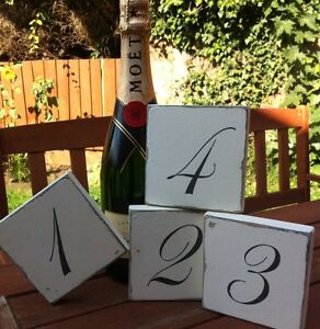Shabby wedding number sign chic blocks table decoration gift for Deco de table shabby