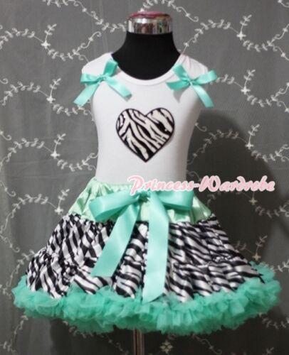 Aqua Blue Zebra Pettiskirt Skirt White Pettitop with Zebra Heart Girl Set 1-8Y