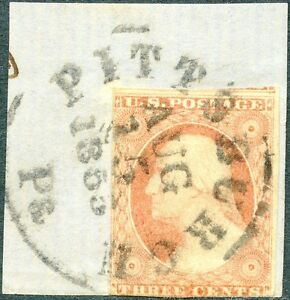 #11 USED ON PIECE WITH AUG. 15,1855 YEAR CANCEL BP1989