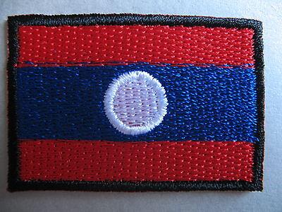 Laos Flag Small Iron On/ Sew On Cloth Patch Badge Appliqué Lao Laotian 4.5 x 3cm