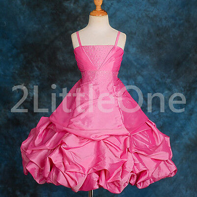 Rhinestone Taffeta Pick Up Dress Wedding Flower Girl Pageant Party Sz 2T-9 #151J