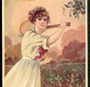 TENNIS..GLAMOUR LADY RETURNS SERVE,VINTAGE CLOTHING FASHION,CORBELLA POSTCARD