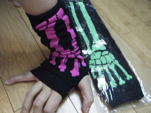 Longueur coude fashion neon crâne squelette os rose vert goth Mitaines