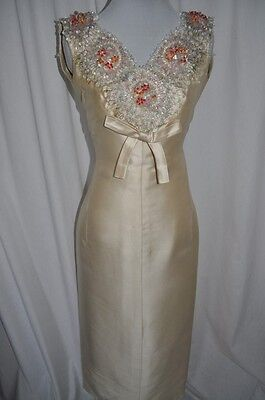 JEANNE LANVIN Vintage 1960's Silk Beaded Wedding Gown Maxi Dress Museum Piece XS