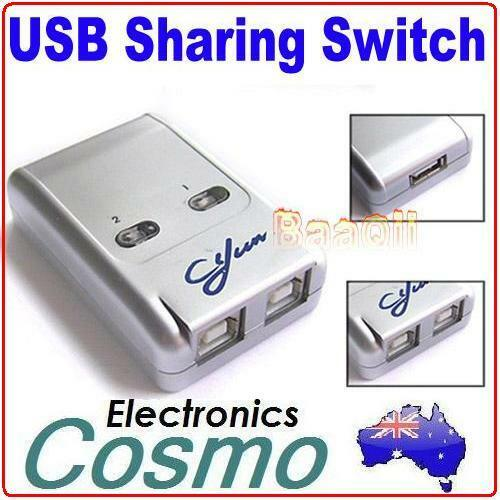 2 Ports USB 2.0 Auto Sharing Switch HUB Selector Switcher for Printer Scanner PC