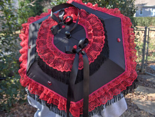 NEW GOTHIC GOTH VICTORIAN RED LACE/BLACK FRINGE 32 inch in diameter PARASOL