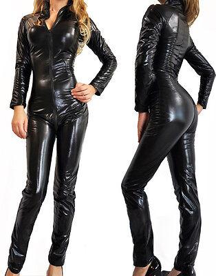 Ladies PVC Superhero Catsuit Catwoman Fancy Dress Costume Lycra Spandex Bodysuit