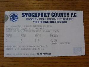 26121999 Ticket Stockport County v Wolverhampton Wanderers Item In very good - Birmingham, United Kingdom - 26121999 Ticket Stockport County v Wolverhampton Wanderers Item In very good - Birmingham, United Kingdom