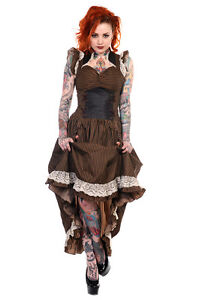 BANNED-LONG-BLACK-BROWN-STRIPE-COPPER-LACE-STEAMPUNK-VTG-VICTORIAN-CORSET-DRESS