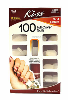 KISS SHORT SQUARE FULL COVER GLUE-ON NAILS KIT 100-CT. (100PS14)