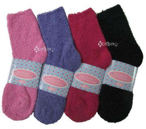 6 Pairs Ladies Soft Fluffy Lounge Cosy Bed Socks Shoe Size 4-6