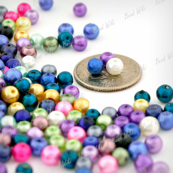 500pcs Approx  Assorted Round Glass Imitation Pearl Spacer Bead 4mm GP0241