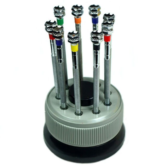Precision Watch Screwdriver Set of 9 in Turret Holder - Extra Blades