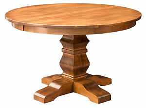 Amish Round Pedestal Dining Table Solid Wood Rustic Expandable 48,54  New