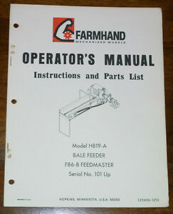 FarmHand-H819-A-Bale-Feeder-F86-B-Feedmaster-Operators-Parts-Manual