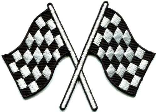Checkered flag chequered auto car racing rockabilly applique iron-on patch S-601
