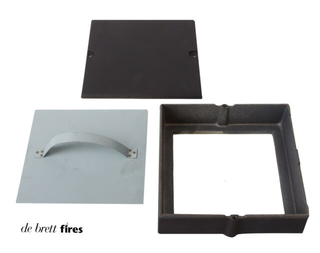 3x Soot Door Box 9 x 9 - Chimney Flue Black Cast - Inspection Hatch Clean Sweep