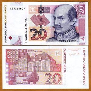 Croatia-20-Kuna-2001-Pick-39-39a-UNC